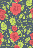 Vector seamless background with red roses Stock Photo