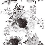 Vector seamless background with roses in monochromic color Royalty Free Stock Images