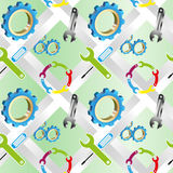 Vector seamless background with a set of industrial tools Stock Photography