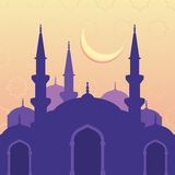 Vector seamless background with silhouette of mosque moon and st Stock Photos