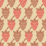 Vector seamless background with strawberry. Vintage. Vector EPS10 illustration Royalty Free Stock Photo