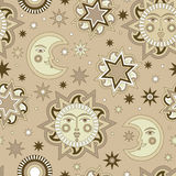 Vector seamless background with sun and stars. Royalty Free Stock Photos