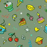 Vector seamless background with sweets Stock Images