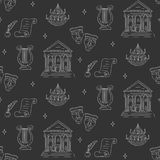 Vector seamless background with theater symbols Stock Images