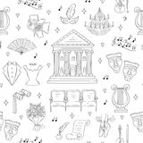 Vector seamless background with theater symbols Royalty Free Stock Photo