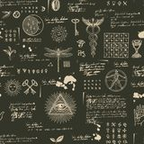Mystical, esoteric, occult seamless background. Vector seamless background on the theme of mysticism, magic, religion and the occultism with various esoteric and vector illustration