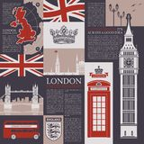 Vector seamless background on the theme of the UK and London with magazine publications, architectural landmarks, British symbols royalty free illustration