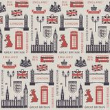 Vector seamless Background on UK and London theme with British symbols, architectural landmarks and flag of the United Kingdom in royalty free illustration