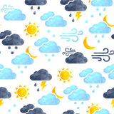 Vector seamless background with weather icons  on white Royalty Free Stock Image