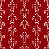 Vector seamless background. White cross on a red Stock Image