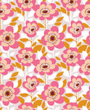 Vector seamless background with  wild roses, vintage style. Hand drawn fabric design. Stock Photo