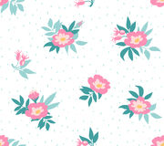 Vector seamless background with  wild roses, vintage style. Royalty Free Stock Image