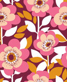 Vector seamless background with  wild roses, vintage style. Hand drawn fabric design. Royalty Free Stock Image