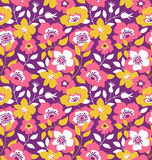 Vector seamless background with  wild roses, vintage style. Hand drawn fabric design. Stylish bright floral seamless pattern Stock Images