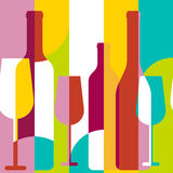 Vector seamless background, wine bottle and glass silhouette. Ab Royalty Free Stock Image