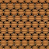 Vector seamless background of wooden barrels Royalty Free Stock Photography