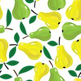 Vector seamless background with yellow and green pears. Stock Photo