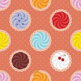 Cartoon background. Cupcakes. Vector seamless background. Yummy cupcakes Stock Images