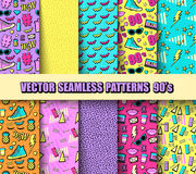 Vector Seamless Backgrounds 80s, 90s Royalty Free Stock Photos