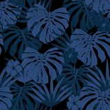 Vector seamless beautiful artistic blue tropical pattern with ex. Otic forest. monotone color original stylish floral background print,  on dark background Stock Photo