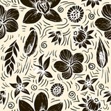 Vector seamless beautiful artistic bright tropical pattern with banana, Syngonium and Dracaena leaf, summer beach fun Royalty Free Stock Image