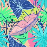 Vector seamless beautiful artistic bright tropical pattern with banana, Syngonium and Dracaena leaf, summer beach fun. Colorful original stylish floral royalty free illustration