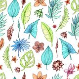 Vector seamless beautiful artistic bright tropical pattern with banana, Syngonium and Dracaena leaf, summer beach fun. Colorful original stylish floral Stock Photos