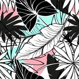 Vector seamless beautiful artistic bright tropical pattern with banana, Syngonium and Dracaena leaf, summer beach fun. Original stylish floral background print Stock Image