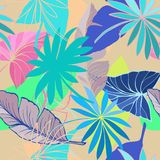 Vector seamless beautiful artistic bright tropical pattern with banana, Syngonium and Dracaena leaf, summer beach fun. Colorful original stylish floral Royalty Free Stock Images