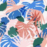 Vector seamless beautiful artistic colorful silhouette tropical. Pattern with exotic forest. Multicolor leaves original stylish floral background print, bright Stock Photography