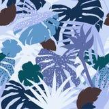Vector seamless beautiful artistic monotone blue silhouette trop Stock Photography
