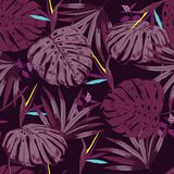 Vector seamless beautiful artistic monotone tropical pattern wit Royalty Free Stock Photography