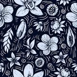 Vector seamless beautiful artistic tropical pattern with banana, Syngonium and Dracaena leaf, summer beach fun, black Royalty Free Stock Photo