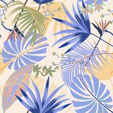 Vector seamless beautiful artisticsummer pastale bright tropical. Pattern with exotic forest. Colorful cute original stylish floral background print, bright Stock Images