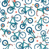 Vector seamless bicycle color pattern with borders Royalty Free Stock Photo