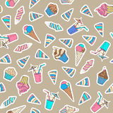 Vector seamless birthday pattern. 80s-90s style design. Stickers, patches, embroidery and sticky labels. Ice-cream, birthday hat, firework, drink, muffin and Royalty Free Stock Photography
