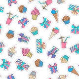 Vector seamless birthday pattern. Set of patches, stickers, embroidery and sticky labels with cakes, gifts, ice-cream and drinks. Great for wrapping paper Stock Photo