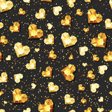 Vector seamless black glossy background with 3d gold heart diamonds, gems, jewels. Golden holiday texture for Valentines greeting card, banner, poster, flyer Stock Images