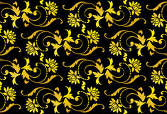 Vector seamless black and gold flower Stock Image