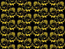 Vector seamless black and gold flower Royalty Free Stock Photo