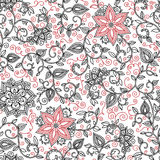 Vector seamless black and red floral pattern Royalty Free Stock Photo