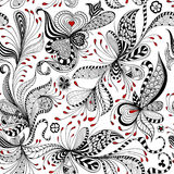 Vector seamless black and red floral pattern Stock Photos