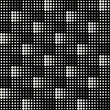 Vector Seamless Black And White Abstract Geometric Cross Circle Halftone Tiling Pattern Royalty Free Stock Images