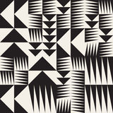 Vector Seamless Black And White Abstract Geometric Irregular Triangle Tiling Pattern Royalty Free Stock Image