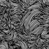 Vector seamless black and white abstract hand-drawn pattern with Stock Image