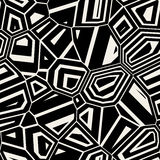 Vector Seamless Black & White Abstract Mosaic Distorted Pattern Stock Photo