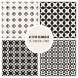 Vector Seamless Black and White Arc Connected Circles Rounded Lines Grid Cross Pattern Set Stock Photo