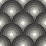 Vector Seamless Black And White  Brick Round Pavement Mosaic Pattern Stock Image