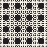 Vector Seamless Black And White Circle Arc Square Pattern Stock Photography