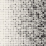 Vector Seamless Black and White Circle Square Cross Triangle Shapes Halftone Grid Pattern Geometric Background Stock Image
